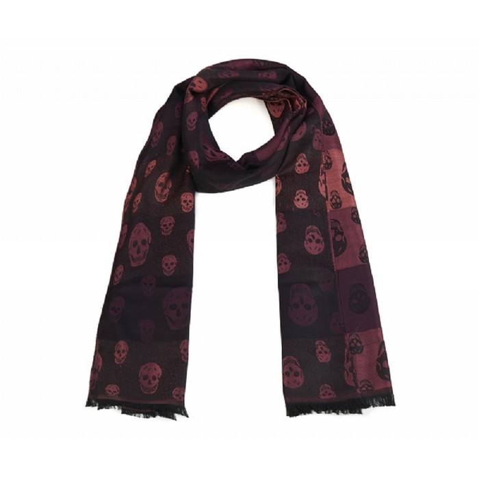 Luxurious winter range skull scarf- Aubergine